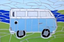 Mosaic blue camper van mosaic