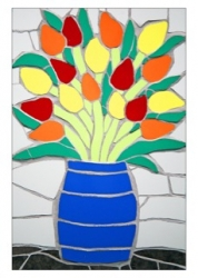 A large vase of tulips mosaic
