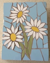 Mosaic three daisy wall hanging