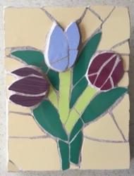 Mosaic three tulips wall hanging