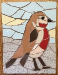 Mosaic robin wall hanging