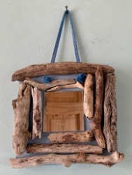 Small driftwood mirror, with a blue suede cord hanging