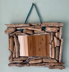 Large driftwood mirror, with blue suede wall hanging
