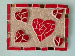 Mosaic red hearts mosaic with gold tiles
