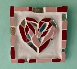 Mosaic heart picture with silver tiles