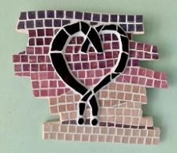 Contemporary heart mosaic wall art