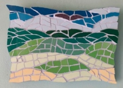 Land and sky shaped mosaic