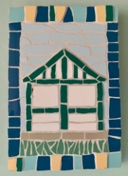 Mosaic beach hut wall hanging