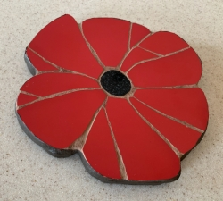 Mosaic poppy wall hanging/trivet with a donation to the Royal British Legion