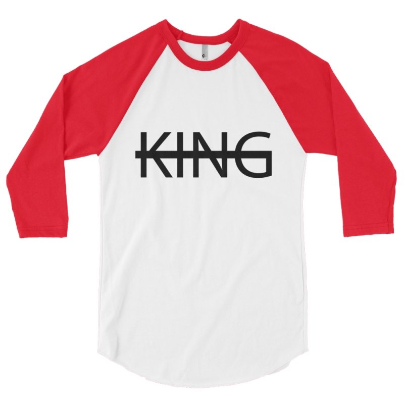 WHITE / RED KING Baseball Tee