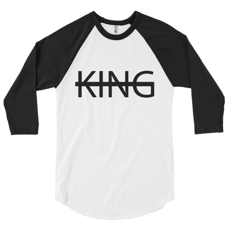 WHITE / BLACK KING Baseball Tee