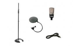 Set 4 - Microfone de Estudio de condensador + Tripe de Micro + Pop Filter + Cabo