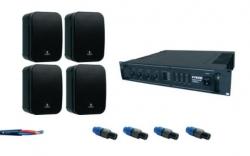 P.A. 400 - 4 Monitores + Amplificador + 4 Fichas + Cabo - 400W