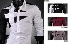 Camisa manga comprida Jeansian Cross - algodao - slim fit - branco/preto/cinza/cor vinho
