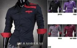 Camisa manga comprida Jeansian Navy - algodao - slim fit - azul/preto/roxo/cinza/cor vinho