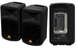 P.A. amplificado Behringer EPS500MP3 Europort - 2 Colunas + Mesa + Micro + Cabos - USB + MP3 - 500-1.000W
