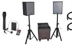 P.A. amplificado Ibiza Cube 1208-PORT - 1.400-2.800W - Subgrave + 2 Tops + 2 Micros + 2 Tripes + Cabos - a bateria/s