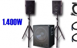 P.A. amplificado Ibiza Cube 1508 - 800-1.400W - Subgrave + 2 Tops + 2 Tripes + Cabos