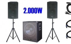 P.A. amplificado Ibiza Cube 1512 - 800-2.000W - Subgrave + 2 Tops + 2 Tripes + Cabos