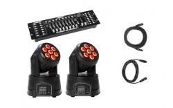 Set LightmaXX 1 - 2 Moving-Heads de Leds Easy Wash Quad + Mesa Platinum ScanCon MKII + 2 Cabos