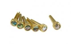 Jogo de 6 Tone Pins D'Andrea Brass Bridge Pins (Solid Brass Abalone) - para Guitarras Acusticas