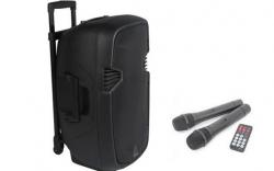 Coluna amplificada Ibiza HYBRID15VHF-BT - 800-1.400W - 15 polegadas - 2 Micros + USB + SD Cards + Bluetooth - a bateria/s