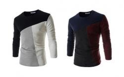 Camisola manga comprida Fashion - algodao e polyester - slim fit - branco/preto ou azul/grena (+ cinza)