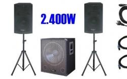 P.A. amplificado Ibiza Cube 1812 - 1.200-2.400W - Subgrave + 2 Tops + 2 Tripes + Cabos