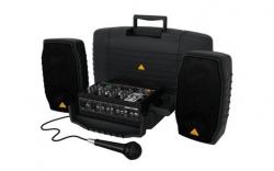 P.A. amplificado Behringer PPA200 Europort - 2 Colunas + Mesa + Micro + Cabos - 200-400W