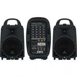P.A. amplificado Behringer PPA500BT Europort - 2 Colunas + Mesa + Micro + Cabos - USB + MP3 + Bluetooth - 500-1.000W