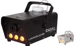 Maquina de Fumo Ibiza LSM400LED - 400W - analogica - com 3 Leds de 3W - comando de cabo - preto/branco