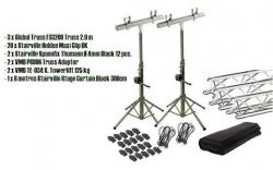 Sistema Truss VMB TE-034 Towerlift + 2 Tripes + Adaptadores + Cortina - 6m - sobe 3,80m - suporta 125Kg