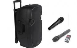 Coluna amplificada Ibiza HYBRID10VHF-BT - 400-800W - 10 polegadas - 2 Micros + USB + SD Cards + Bluetooth - a bateria/s