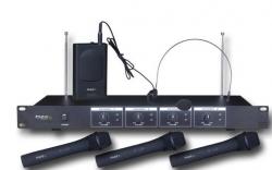 Micro sem fio 3 de mao + 1 headset + Receptor Ibiza VHF4 - VHF - de Rack