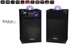 P.A. amplificado Ibiza DP234-Astro + Luzes - 1 Coluna activa que amplifica a outra - 250-400W
