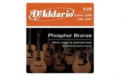 Jogo de Cordas D'Addario EJ15 - bronze - Guitarra Acustica - 010