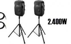 P.A. amplificado Ibiza 2 - 1.000-2.400W - 2 Colunas + 2 Tripes + 2 Cabos