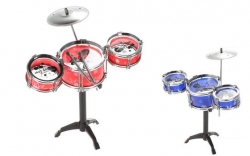 Bateria Acustica completa 3 C Junior + 1 Prato + 2 Baquetas (azul/vermelho) - junior - para criancas