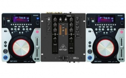 Pack para DJ 1 - 2 Leitores Omnitronic XMT-1400 + Mesa Behringer NOX101 + Cabos