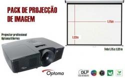 Projector Optoma S Series - DLP - 3.000-3.200 ansi lumens + Tela - 1,75 m
