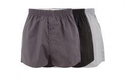 3 Boxers largos Basics - lisos - preto, cinza escuro e cinza claro
