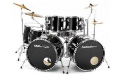 Bateria Acustica completa Millenium MX222 Double Bass Drumset Rock - 2 Bombos + Tarola + 4 Timbaloes + 5 Pratos + 2 Pedais