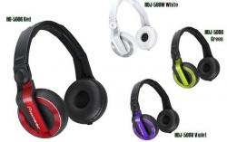 Headphones Pioneer HDJ-500R/W/G/V - DJ - com angulo - vermelho, branco, verde e violeta
