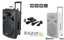 Coluna amplificada Ibiza PORT10UHF-BT - 500W - 10 polegadas - 2 Micros + USB + SD Cards + Bluetooth + Radio - a bateria/s