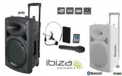 Coluna amplificada Ibiza PORT12UHF-BT - 700W - 12 polegadas - 2 Micros + USB + SD Cards + Bluetooth + Radio - a bateria/s