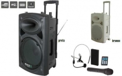 Coluna amplificada Ibiza PORT15VHF-BT - 800-900W - 15 polegadas - 2 Micros + USB + SD Cards + Bluetooth + Radio - a bateria/s