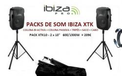 P.A. amplificado Ibiza XTK10 - 2 Colunas + 2 Tripes + Saco + Cabo - 600-1.500W