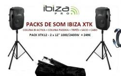 P.A. amplificado Ibiza XTK12 - 2 Colunas + 2 Tripes + Saco + Cabo - 1.000-2.400W