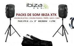 P.A. amplificado Ibiza XTK8 - 2 Colunas + 2 Tripes + Saco + Cabo - 400-800W