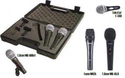 Set 3 - 3 Microfones para Voz T.Bone MB-60Set/MB-45 II/Fame MS25/Takstar E-340 + 3 Pincas + Mala